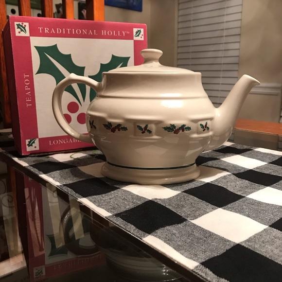 Christmas Holly Longaberger pottery Teapot